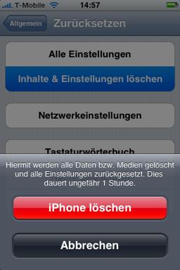 INHALTE EINSTELLUNGEN LÖSCHEN IPHONE DAUER