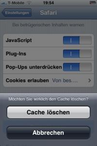 iPhone Browser Verlauf, Cookies, Cache löschen.
